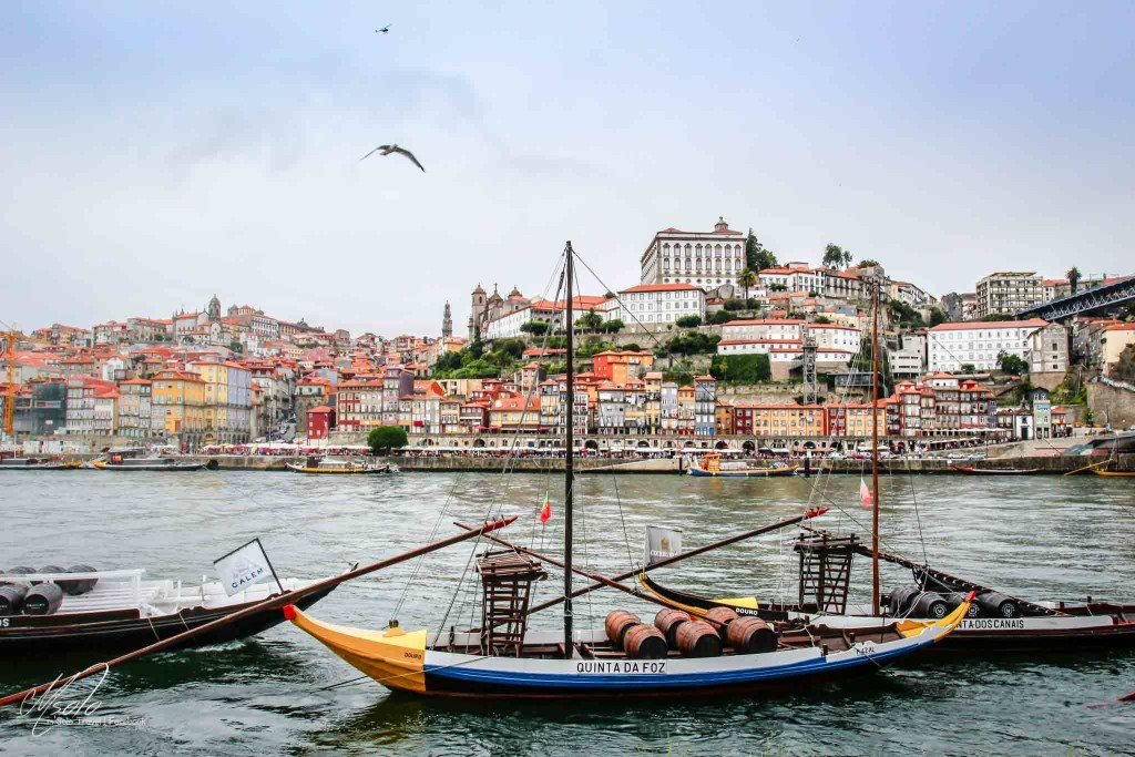 Porto with Douro river and traditional port wine boats,